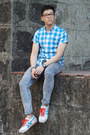 Blue-acid-wash-topman-jeans-sky-blue-gingham-fred-perry-shirt