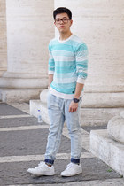 sky blue pull&bear jeans - turquoise blue cotton Mango sweater