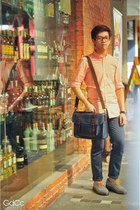 carrot orange H&M shirt - navy ted baker bag - navy Topman pants