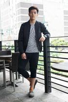 gray emery Dr Martens shoes - black satin H&M jacket - gray polka dots H&M shirt