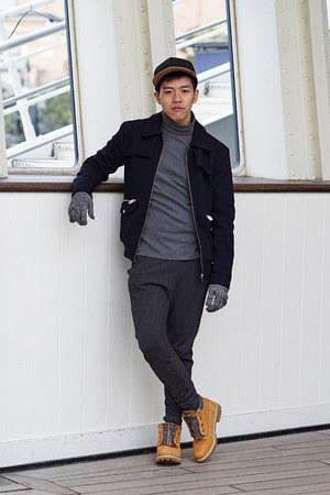 navy pique Zara jacket - mustard zip chukka Timberland boots