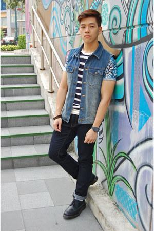 navy Uniqlo jeans - black Dr Martens shoes - navy Bershka jacket