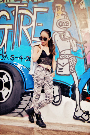 black boots - light blue denim shirt - black sunglasses - black lace bra top