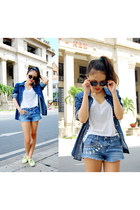 blue diy shorts - navy denim Gap shirt - black sunglasses