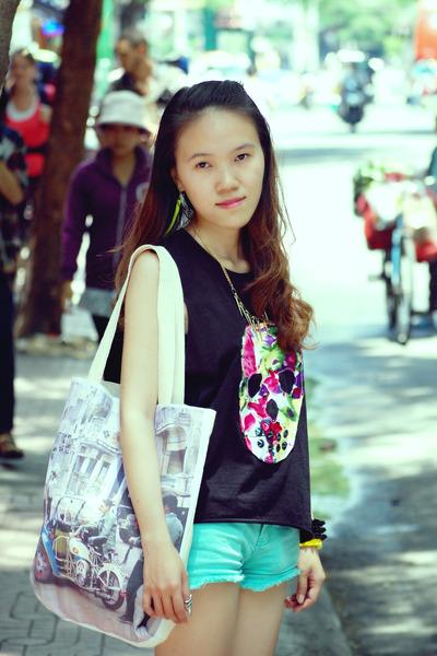 white bag - aquamarine Blue exchange shorts - black diy top - yellow accessories