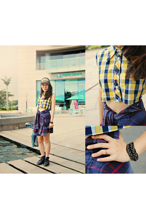 deep purple tartan shirt - yellow tartan cropped shirt - black boots - navy hat