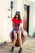 red diy top - black boots - hot pink shirt - blue shorts