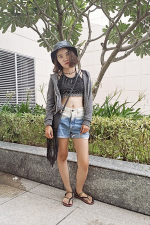 black fringe H&M bag - blue ombre second hand shorts
