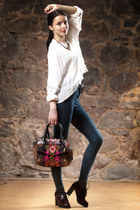 white H&M blouse - crimson boots - blue Mango jeans - red Fiorelli bag