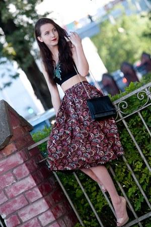 brick red selfmade skirt - black reserved top - nude Mango heels