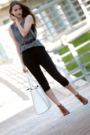 gray reserved shirt - white reserved bag - black reserved pants