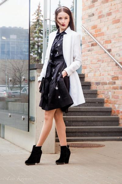 black Zara boots - black Ivo Nikkolo dress - white Seppälä coat