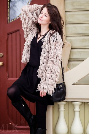 beige lindex cardigan - black Mango dress - black Mango bag