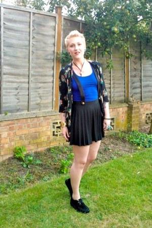 teal thrifted vintage blouse - black Ebay shoes - black Primark skirt
