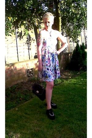 deep purple H&M dress - black Ebay shoes