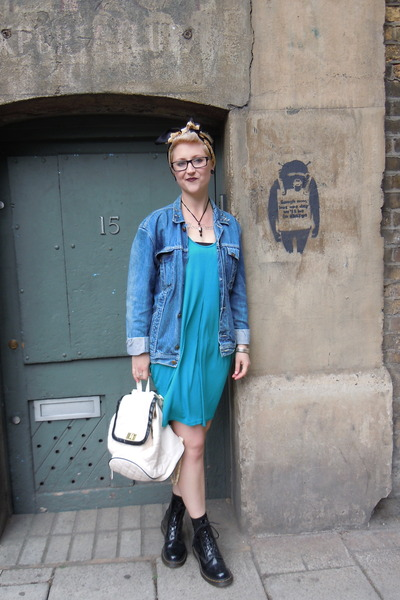 turquoise blue Topshop dress - black Dr Martens boots - blue vintage jacket