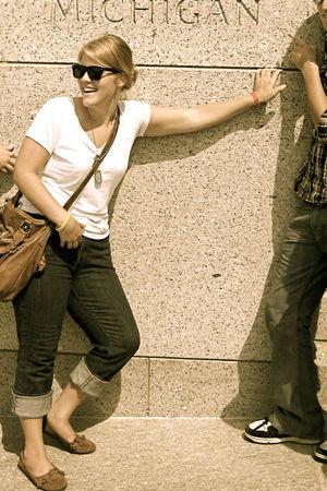 6e8408d12e0 white Kmart scarf - brown purse - brown Kmart shoes - blue jeans