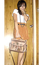 white Zara blouse - orange The Ramp pink Manila shorts - brown Moms vintage bag