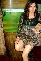 black Zara dress - gray Aldo necklace - gold Jellybean purse