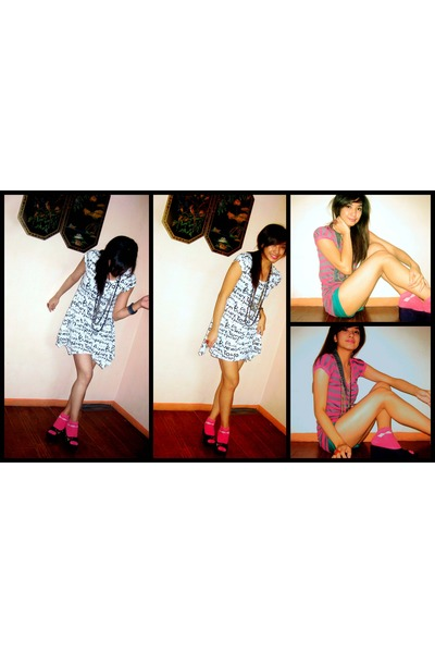 white BNY dress - blue JAENO shoes - pink borrowed by my sissy socks