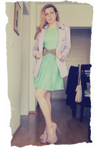 mint pull&bear dress - foxy Jeffrey Campbell shoes - trench coat New Yorker coat