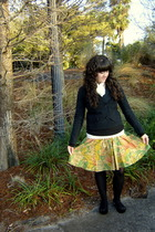 black new york & co coat - yellow Goodwill skirt - black my moms closet tights -