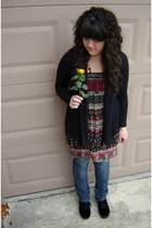 black Ross cardigan - red Forever 21 blouse - black H&M shoes