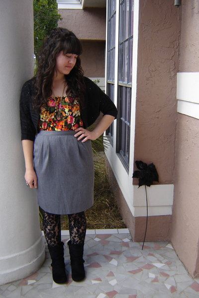 black cardigan - orange Urban Outfitters blouse - gray Goodwill skirt - black Ta