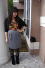 Black-cardigan-orange-urban-outfitters-blouse-gray-goodwill-skirt-black-ta