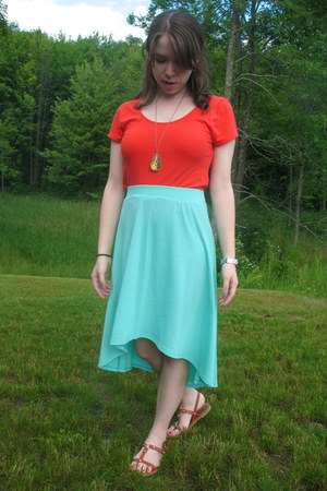 aquamarine high low Forever21 skirt - coral crop Forever21 shirt