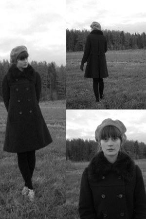 with fur collar thrifted vintage coat - thrifted wool hat