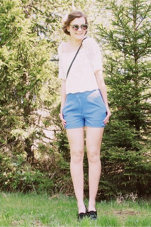 black thrifted bag - blue Monki shorts - green lindex sunglasses