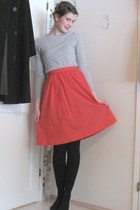 red inherited skirt - gray JLindeberg sweater