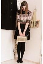 thrifted sweater - black vintage dress - 50s Radio