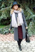 black Giorgio Armani hat - charcoal gray Max Mara coat - periwinkle MALO scarf