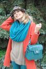 Carrot-orange-zara-coat-turquoise-blue-zara-jeans-heather-gray-zara-hat