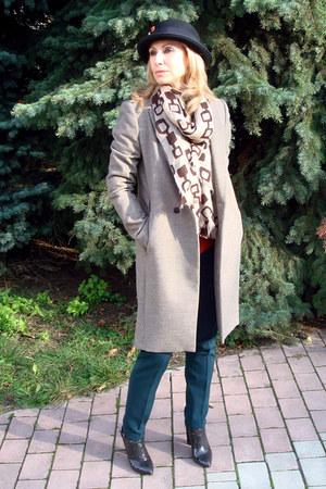beige Zara coat - black River Island hat - beige MALO scarf