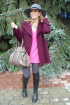 magenta Max Mara coat - silver oodji hat - bubble gum Zara sweater