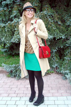 eggshell Zara coat - camel Zara hat - maroon Celine bag - teal Zara skirt