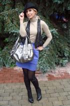 silver Roger Vivier bag - black Zara coat - black Zara hat