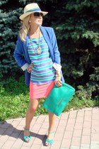 sky blue Zara blazer - aquamarine River Island shoes - aquamarine Zara bag