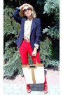 Navy-zara-blazer-off-white-anna-hindmarch-bag-tan-michael-kors-watch
