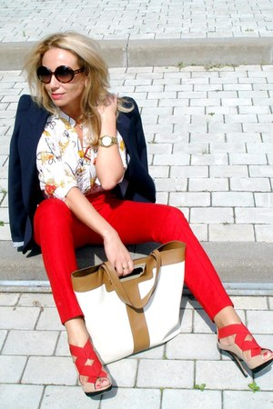 red Zara pants - navy Zara blazer - off white Anna Hindmarch bag