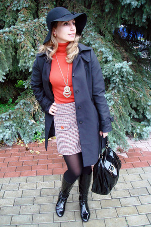 light pink Promod skirt - black patent leather baldinini boots - black Zara coat