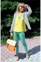 peach YSL bag - aquamarine Zara jeans - white Zara blazer