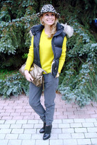 yellow Zara jumper - heather gray Zara hat - tan Gucci bag