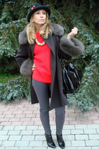 black River Island hat - dark brown Max Mara coat - charcoal gray Zara leggings