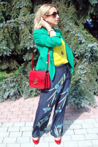 turquoise blue Zara blazer - ruby red Celine bag - brown Chanel sunglasses