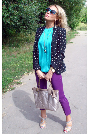 black Zara blazer - silver lanven bag - turquoise blue Louis Vuitton sunglasses