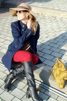 brown Marc Jacobs sunglasses - navy Zara coat - red Zara jeans